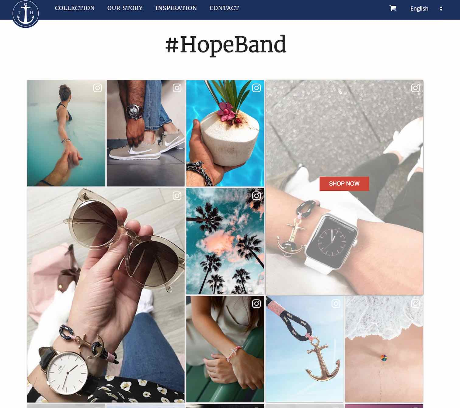 shoppable instagram feed with featured items